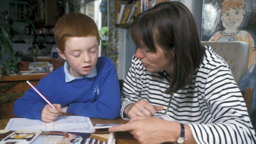 Mother and son doing schoolwork at home