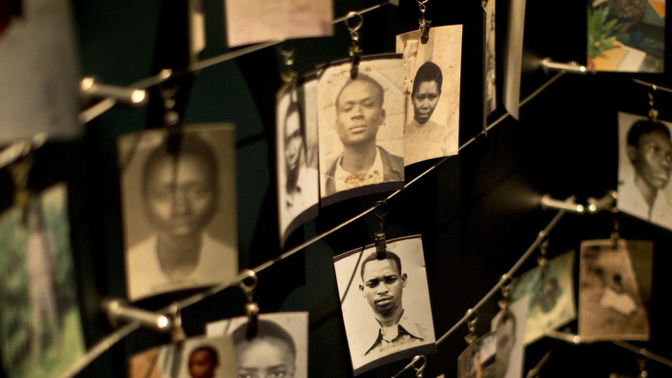Photographs of some of those who died hang in a display in the Kigali Genocide Memorial Centre, Rwanda. 5 April 2015