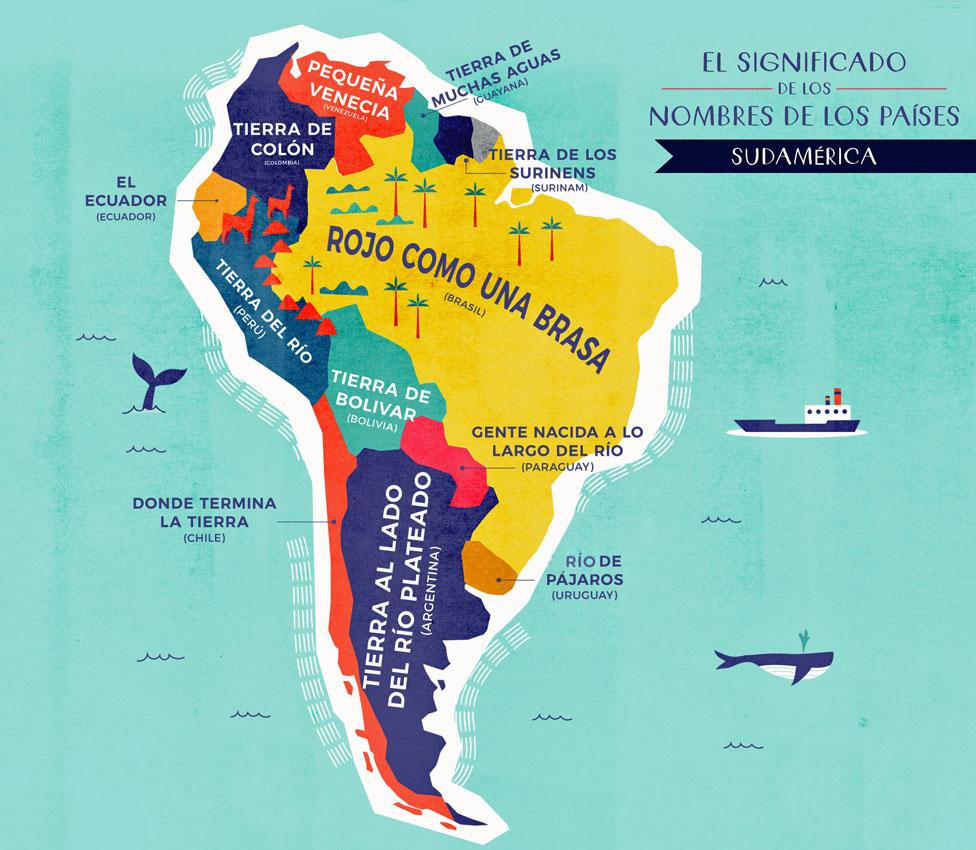 Mapa Sudamérica con nombres traducidos