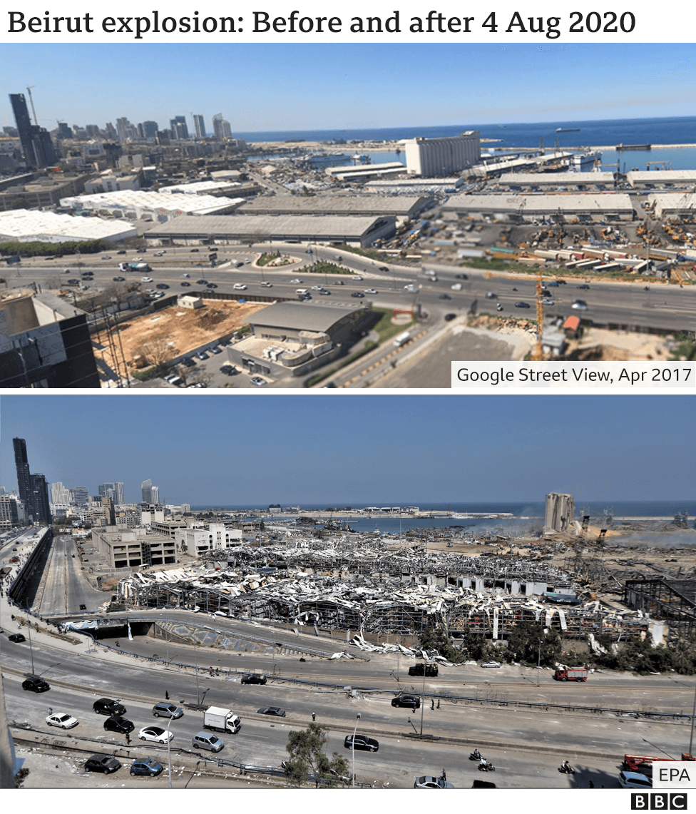 Images showing Beirut's port before and after explosion on 4 August 2020