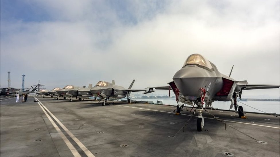 ockheed Martin F-35B Lightning II combat aircrafts of the US Marine Fighter Attack Squadron 211 (VMFA 211) on the flight deck of the HMS Queen Elizabeth at the port of Limassol, Cyprus, 01 July 2021.