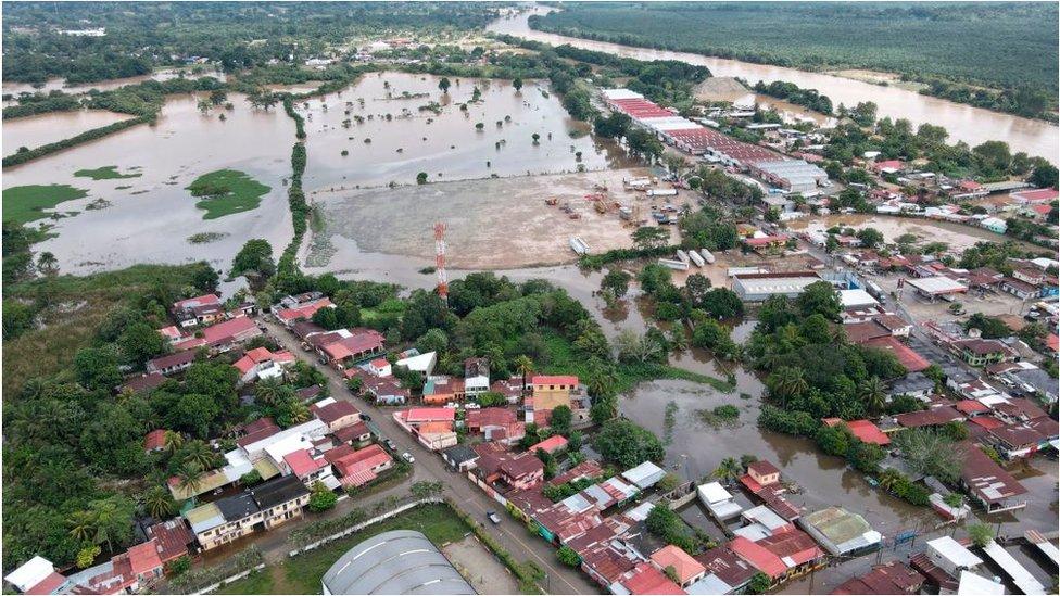 Una región inundada de Honduras