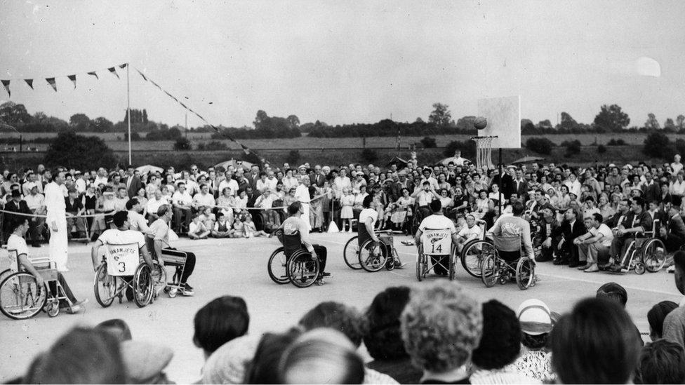 Los Juegos Internacionales de Stoke Mandeville en 1955.