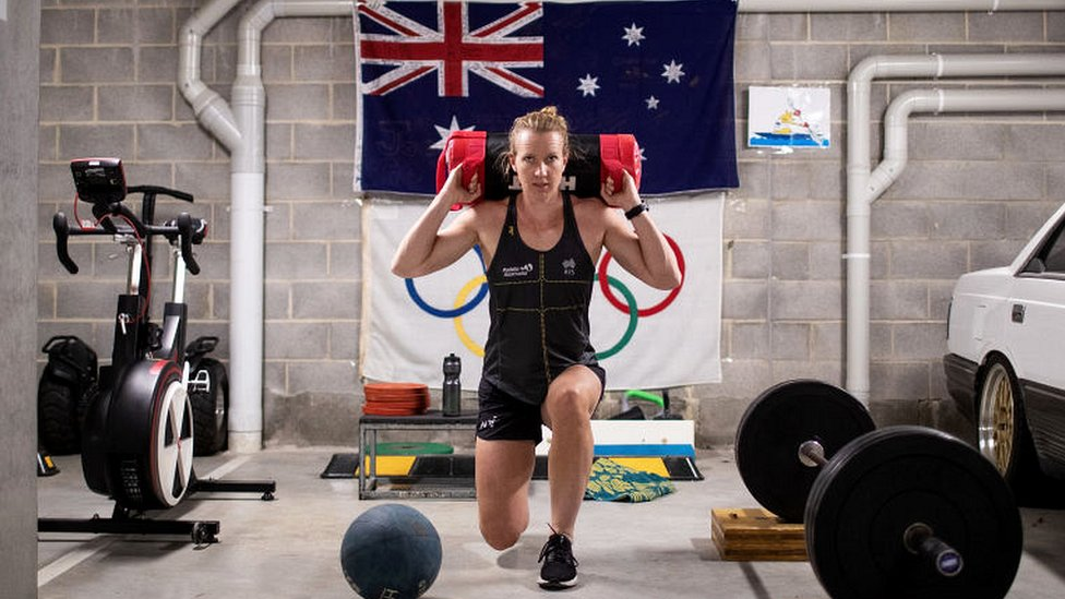 Australian Olympic Kayaker Jo Brigden-Jones trains in isolation in her garage at home on April 21, 2020 in Sydney, Australia. Athletes across the country are now training in isolation under strict policies in place due to the Covid-19 pandemic