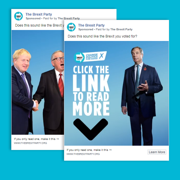 Two political adverts by the Brexit Party