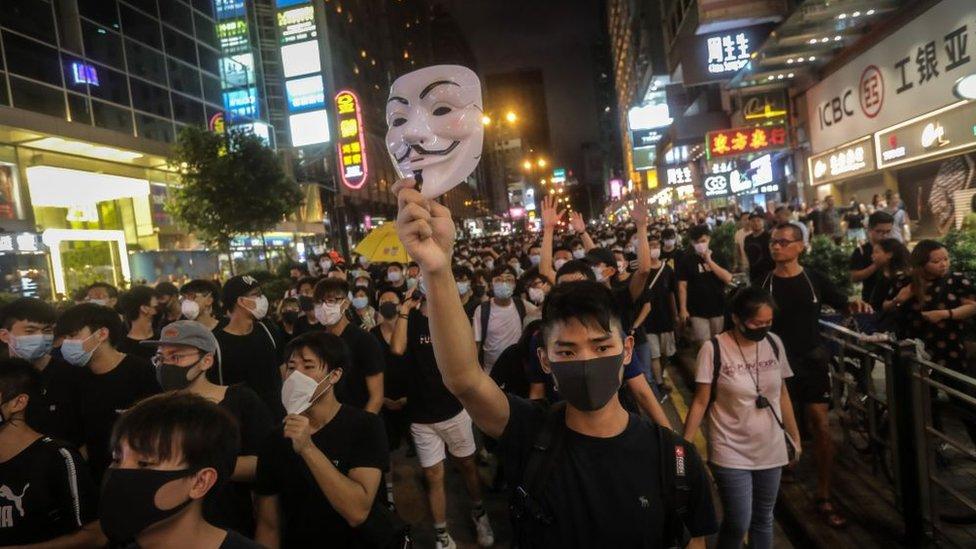 Manifestantes en Hong Kong en las protestas del pasado domingo.
