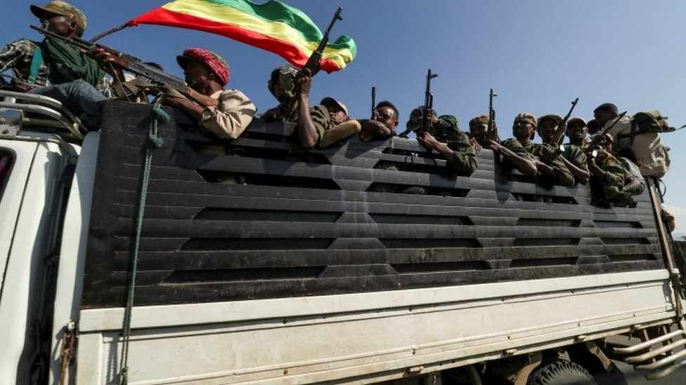 Troops ride in trucks to face soldiers loyal to the Tigray People's Liberation Front