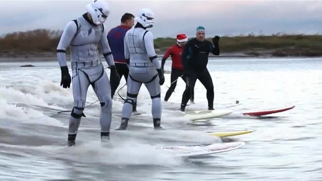 Star Wars stormtroopers riding the Severn Bore
