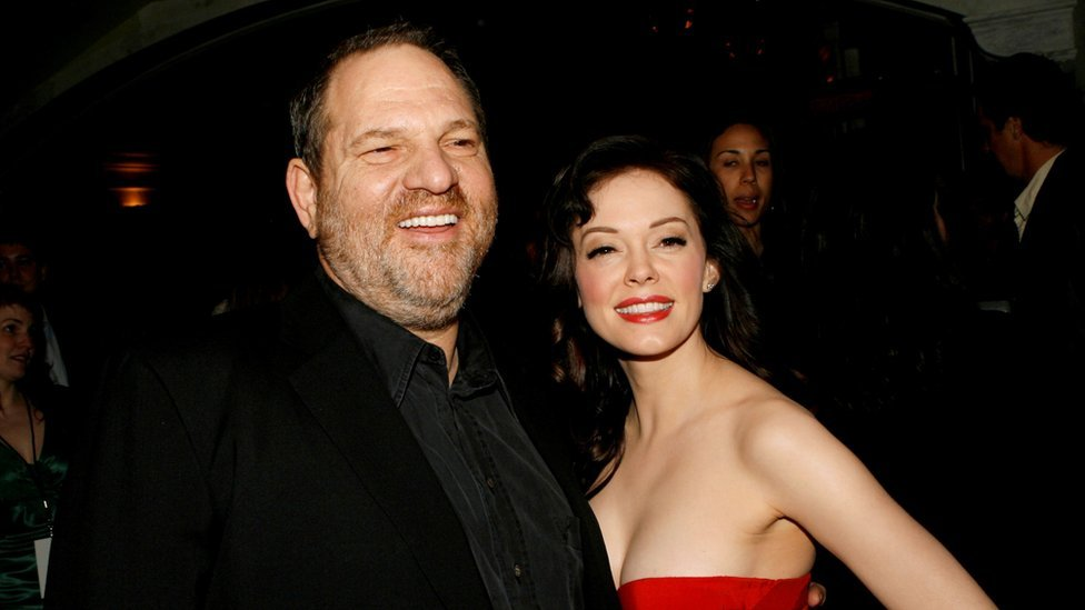 Harvey Weinstein and Rose McGowan arrive at the premiere of Grindhouse at the Orpheum Theatre in Los Angeles, 26 March 2007