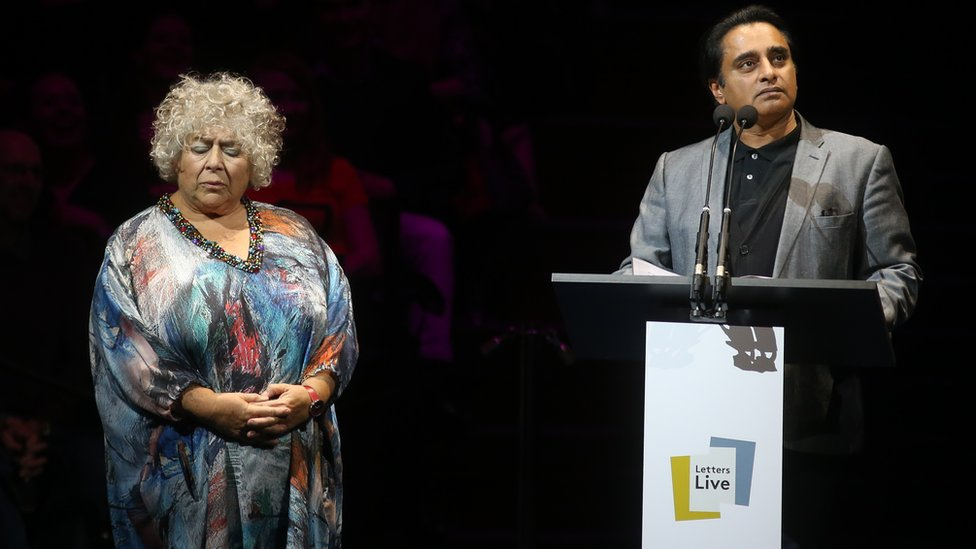 "Miriam Margolyes and Sanjeev Bhaskar take part in the fourth night of the Letters Live series at the Freemason""s Hall, London."