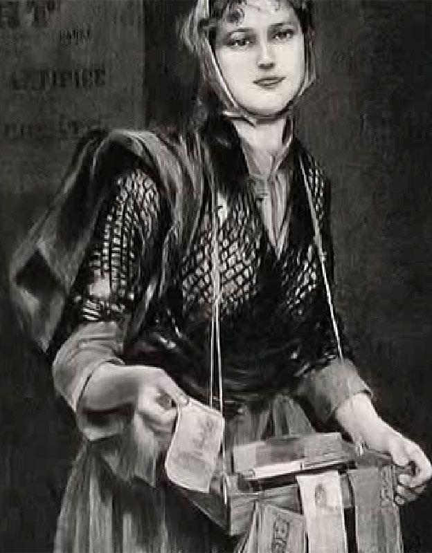 Chica vendedora de folletos