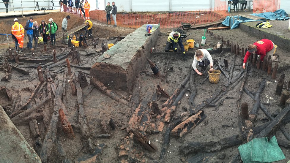 The Must Farm quarry Bronze Age excavation site in Cambridgeshire.