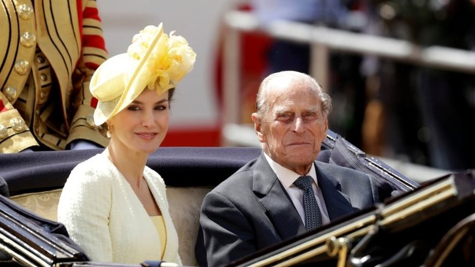 Prince Philip rides in a carriage with Spain's Queen Letizia in 2017 in London