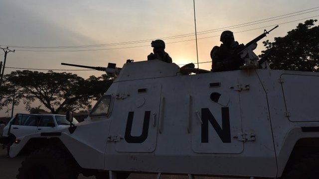 UN peacekeeping forces on patrol in CAR