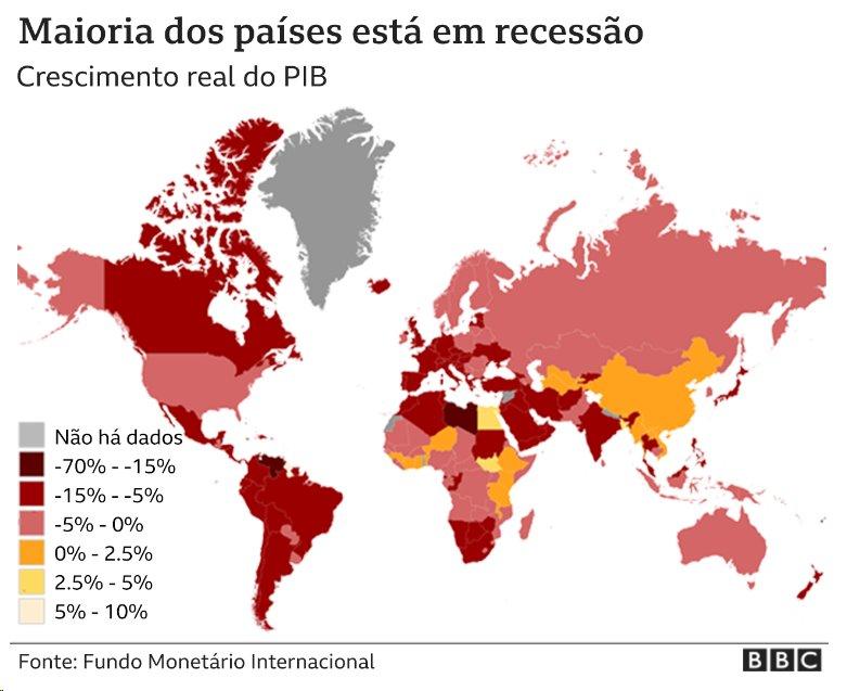 Gráfico mostra recessão nas economias de muitos países