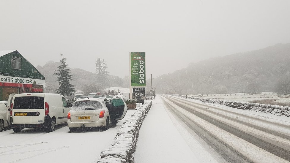 A5 in Capel Curig under a blanket of snow