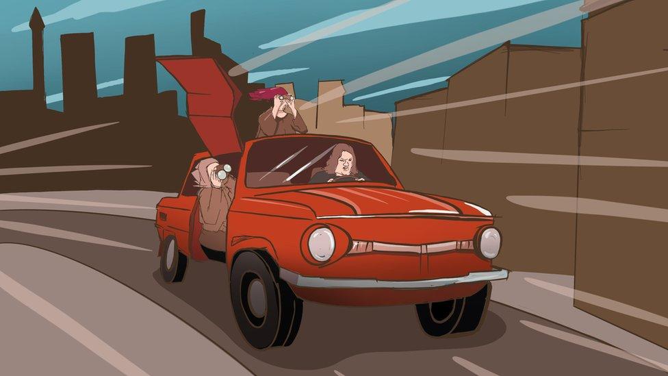 Mujeres en un carro.