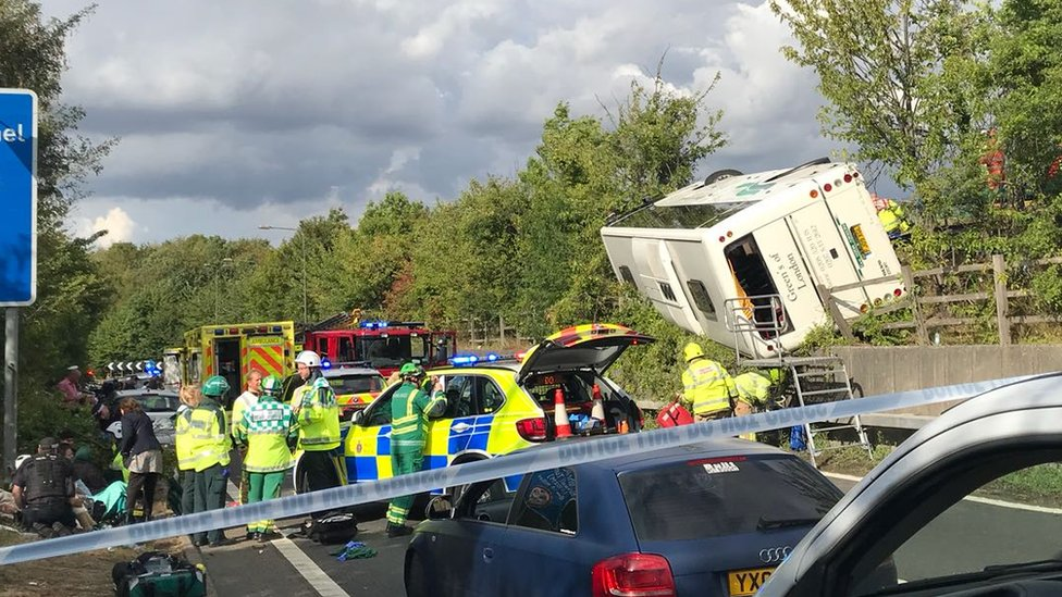 M25 coach crash: Victims remain in hospital after dozens hurt