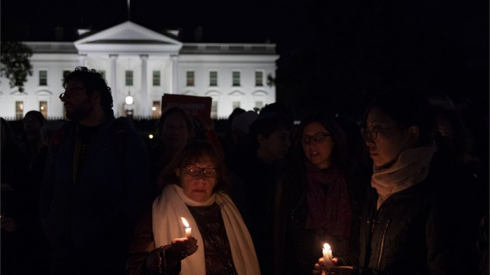 A vigil at the White House took place on Saturday night after the Pittsburgh shooting