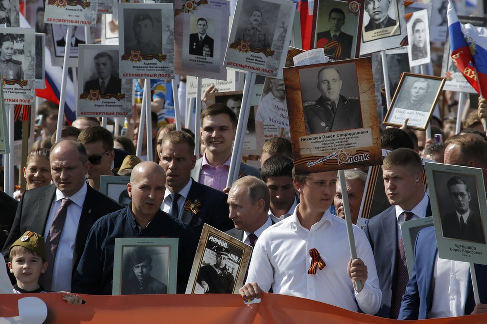 President Putin (front, centre) on march to remember war dead, 9 May 16