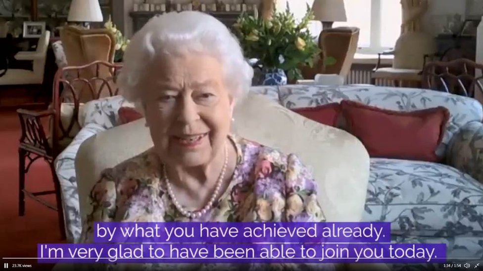 The Queen spoke from the Oak Room at Windsor Castle, Berkshire