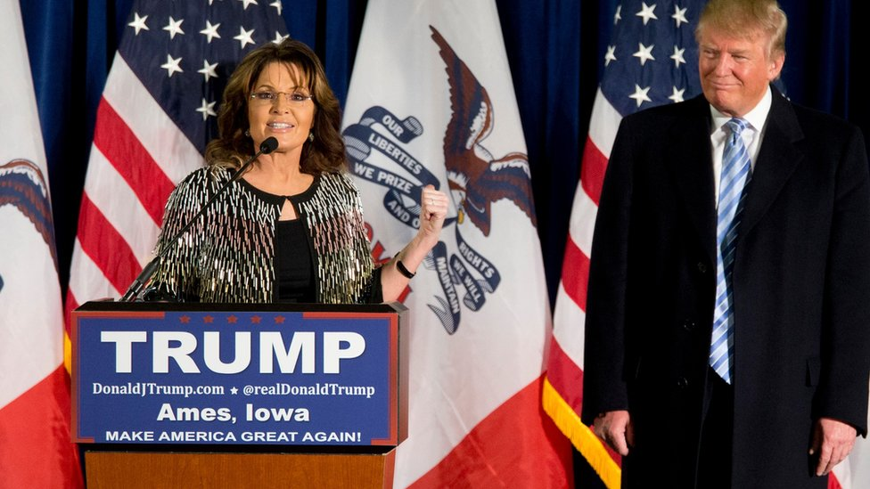 Former Alaska Gov Sarah Palin, left, endorses Republican presidential candidate Donald Trump during a rally at the Iowa State University, Tuesday, 19 Jan, 2016, in Ames, Iowa.