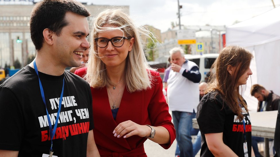 Lyubov Sobol attends a rally in support of opposition and independent candidates after authorities refused to register them for September elections to the Moscow City Duma, on July 20, 2019 in Moscow, Russia