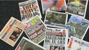 British newspaper front pages on 23 June 2016, the day Britain voted to leave the EU