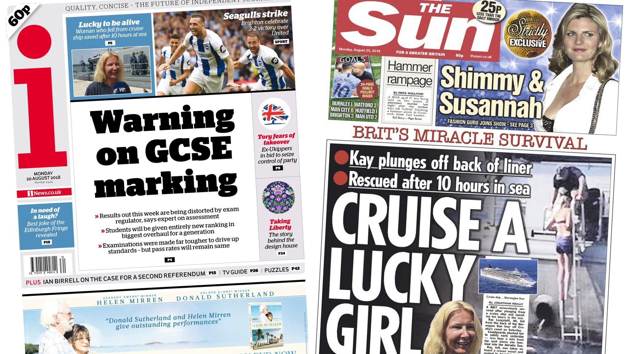 Newspaper headlines: GCSE 'warning' and a 'miracle rescue'