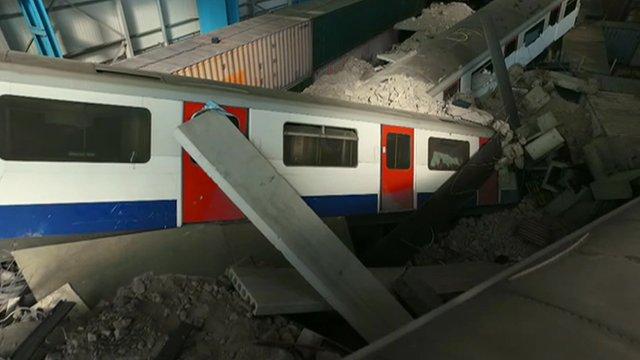 Simulation of a train crash