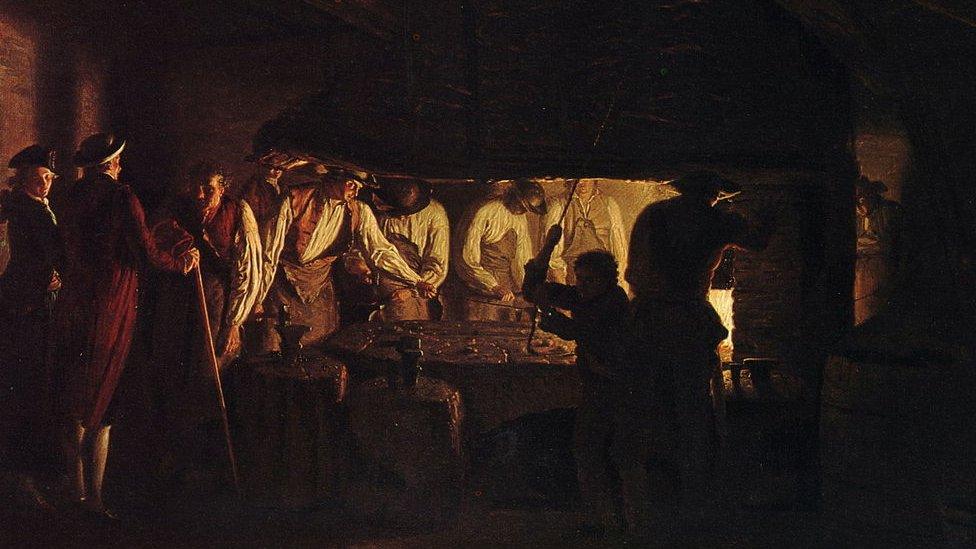 """""""Visitando una fábrica de clavos"""" de Léonard Defrance"""