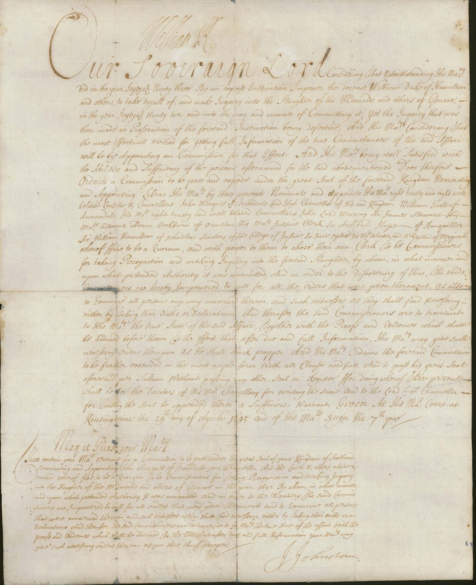 A warrant for an inquiry into the Glencoe massacre, signed by King William III