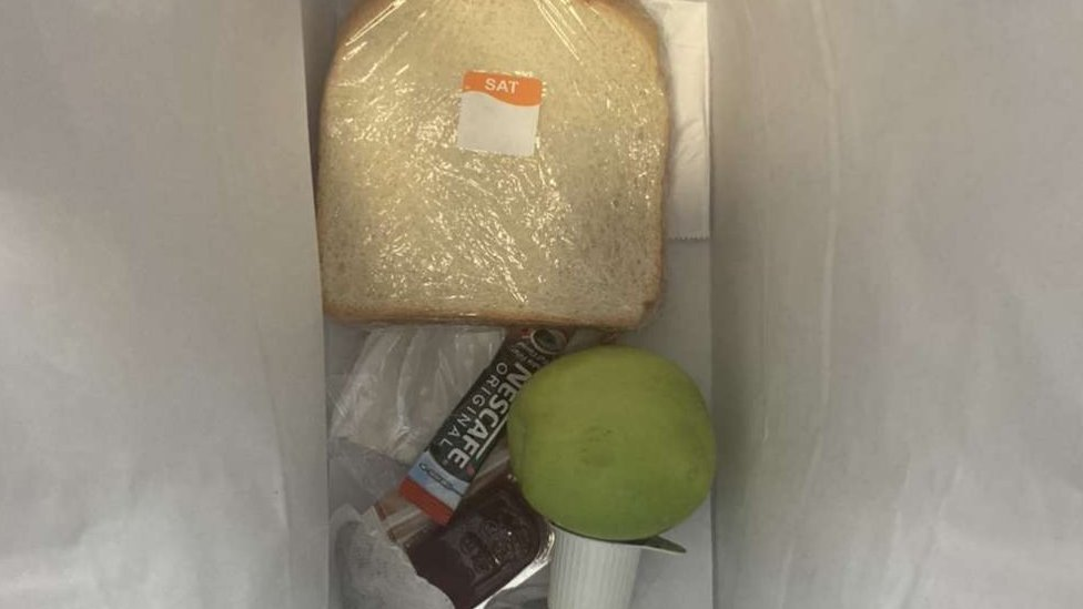 Pieces of bread given to a student isolating in Nottingham