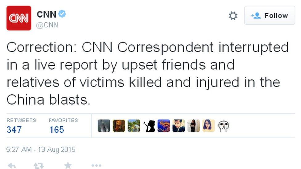 Screenshot of a tweet by CNN