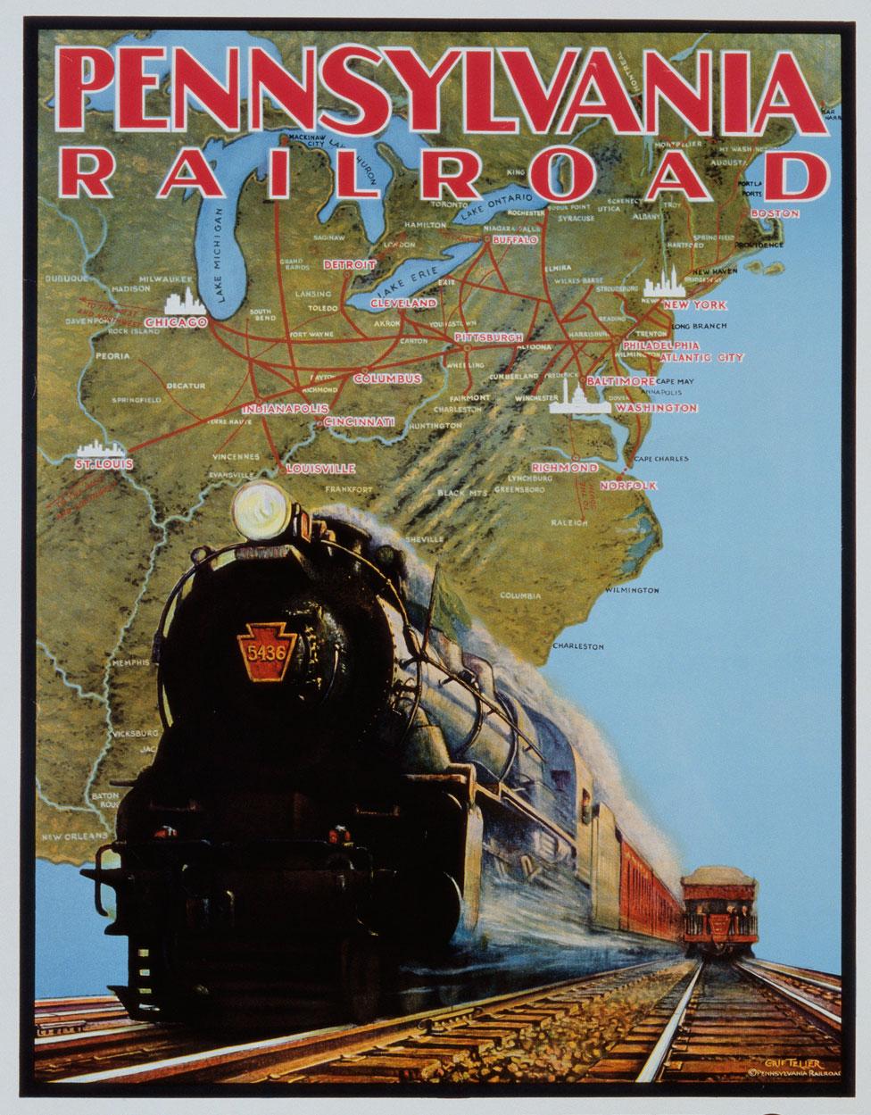 Un poster del Ferrocarril de Pensilvania.