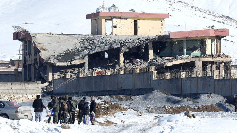 A collapsed building at a military base following a car bomb attack in Wardak province, Afghanistan. Photo: 21 January 2019