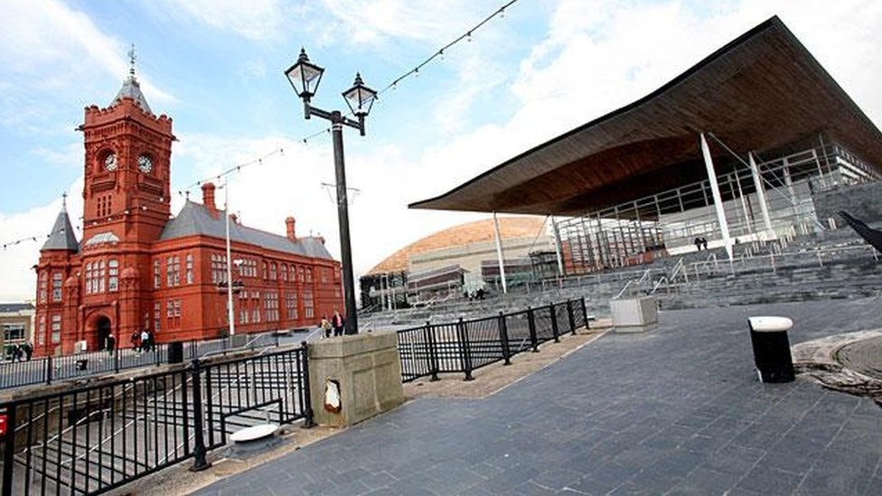 Pierhead and Senedd in Cardiff Bay