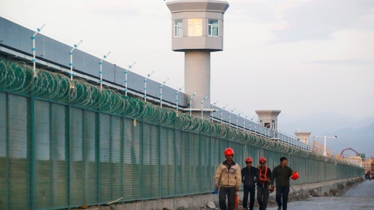 The perimeter of a vocational centre in Xinjiang