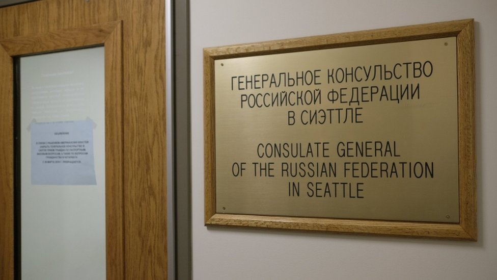 The entrance to the Russian Consulate in Seattle, Washington, pictured on 26 March 2018.