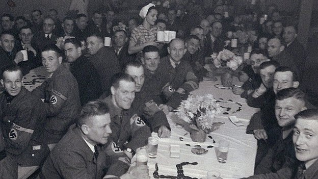 German soldiers eating in a canteen