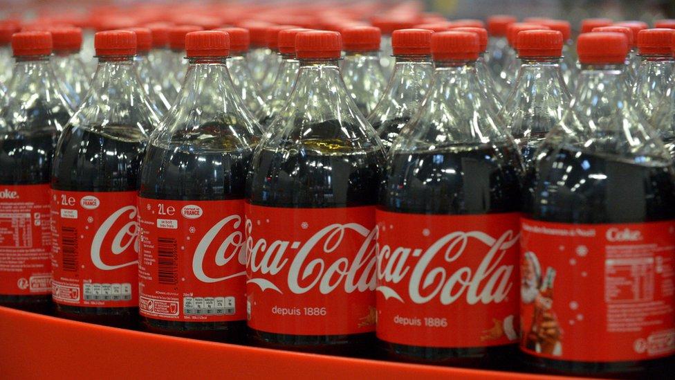 Plastic bottles of Coca-Cola