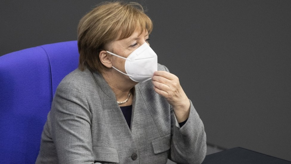 """German Chancellor Angela Merkel during a session of the German parliament """"Bundestag"""" in Berlin, Germany, 13 January 2021"""