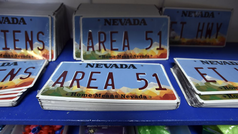 Car number plate with AREA 51 written on it