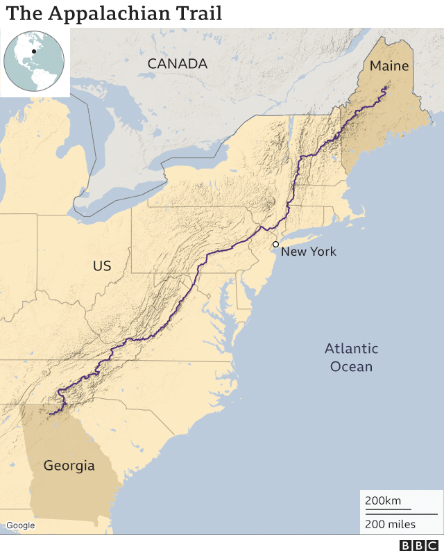 Map showing the Appalachian Trail, stretching from Maine in the north to Georgia in the south