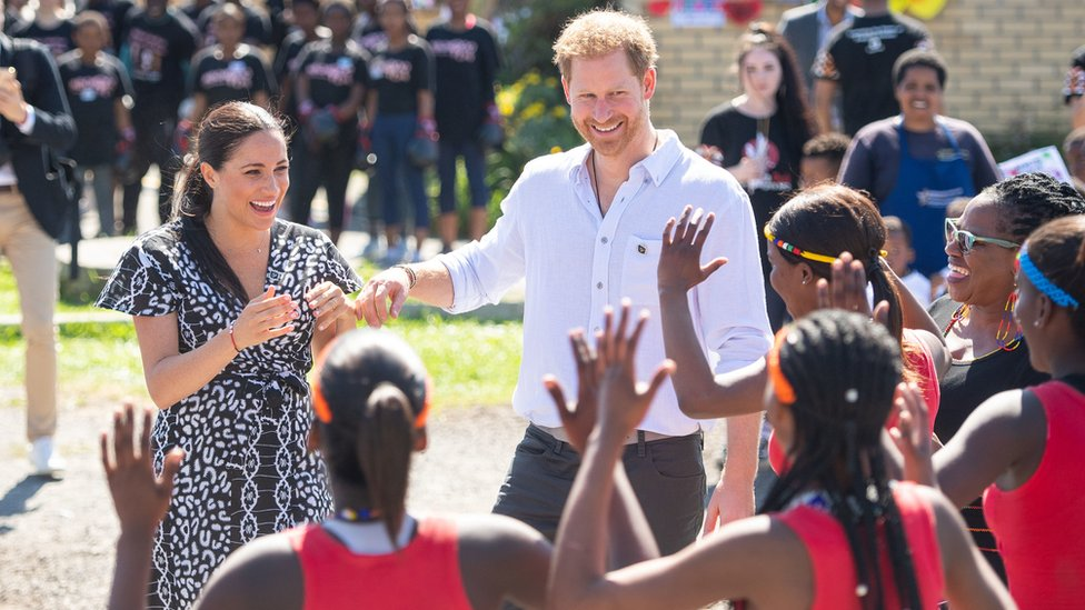 The Duke and Duchess of Sussex during their tour of South Africa