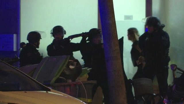 Police guard escaping concert-goers