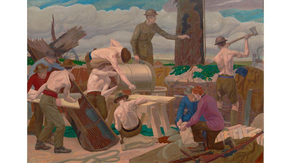 """Cuadro """"Erigiendo un árbol de camuflaje"""" de Leon Underwood"""