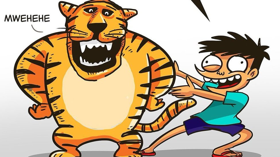 A cartoon of the tiger and a boy