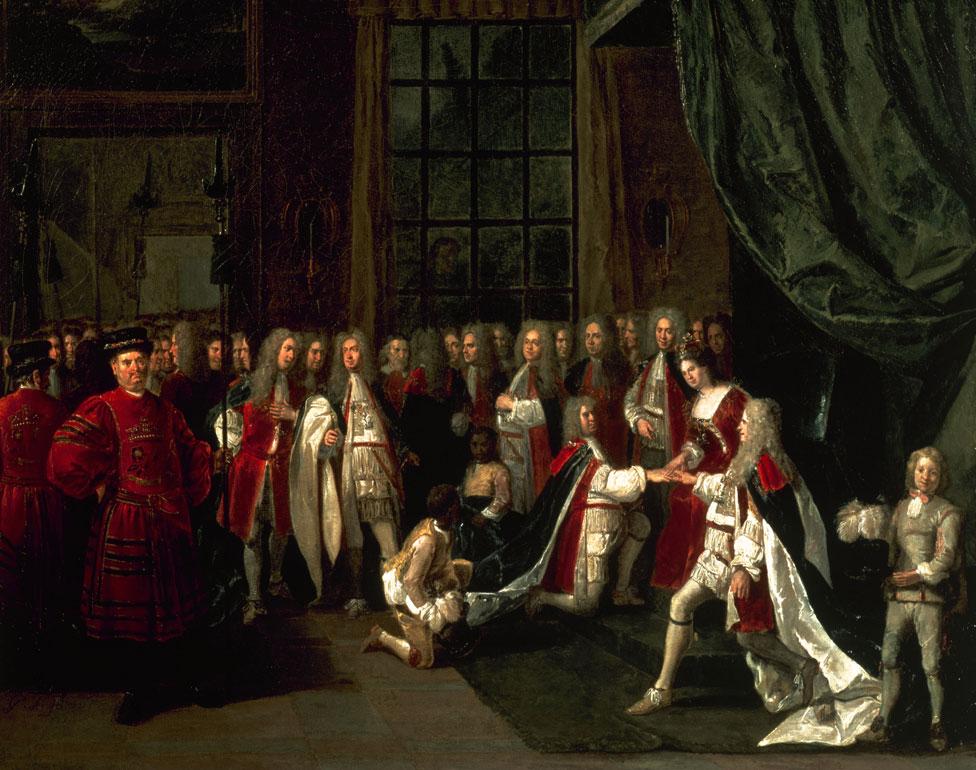 La reina Ana y los caballeros (1713) de Peter Angelis (circa 1725).