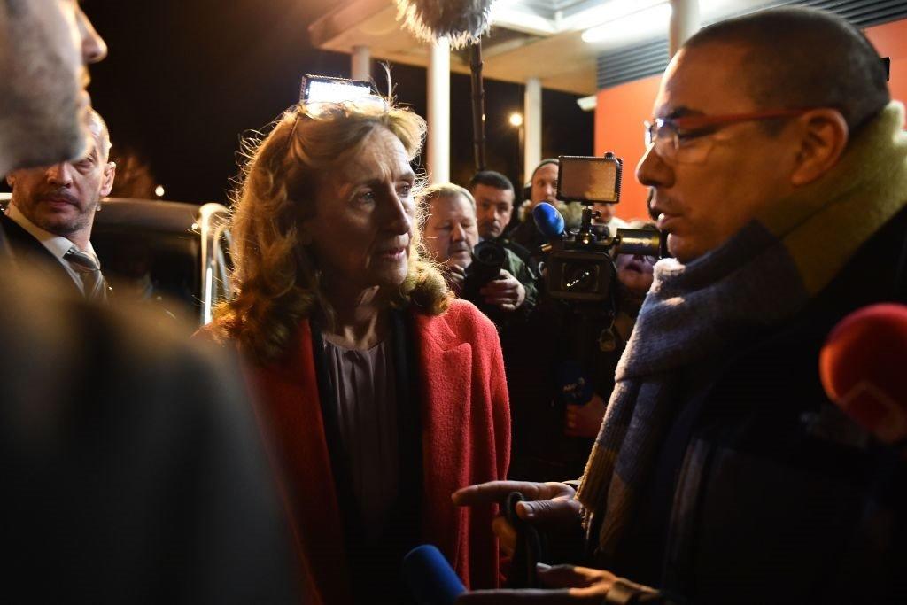وزيرة العدل الفرنسي نيكول بيلوبيت أثناء حديثها إلى الصحافة في يوم الحادثة. 5 مارس/آذار 2019